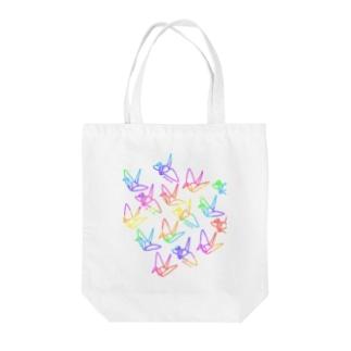 のぐちさきのPEACE-平和への祈り-レインボー Tote bags