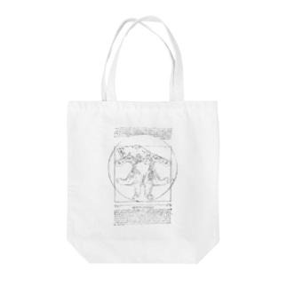 ウィトルウィウス的ニャン体図 Tote bags
