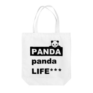 のぞきこみパンダ Tote bags