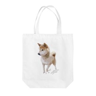歩く太郎イラスト風【柴犬】名前入り Tote bags