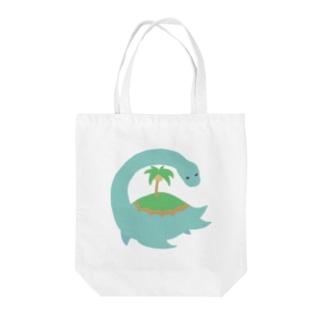 ネッシーアイランド Tote bags