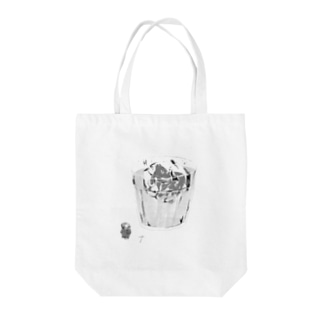 A frozen mommoth in the glass. Tote bags