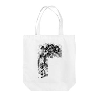 チェシャ猫とアリス Tote bags