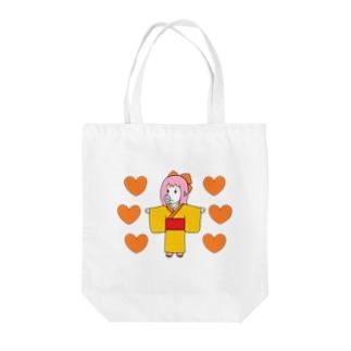 お豚(とん)さんwithオレンジハート Tote bags