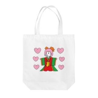 ジュウニヒトンエ(十二単豚衣)withハート!! Tote bags