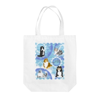 Five colors of Shetland Sheepdogs.~Turquoise~ Tote bags