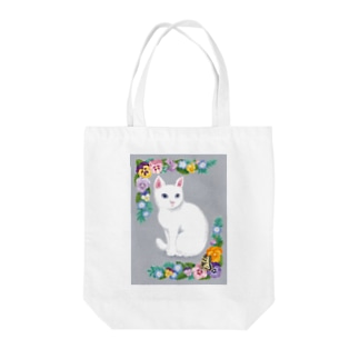White cat Tote bags