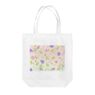 花柄バレエ31Lucky(pink&green) Tote bags