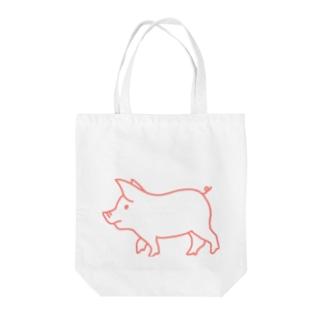 ピンク豚【線】 Tote bags
