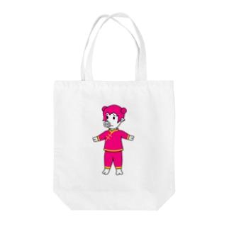 ピンクチャイナピッグガール Tote bags