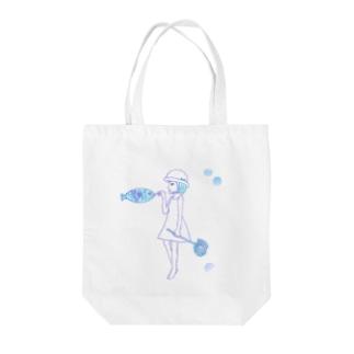 夏の少女 Tote bags