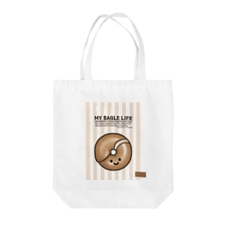 MicaPix/SUZURI店の10点限定 もち麦亭ベーグルバッグ-白 Tote Bag