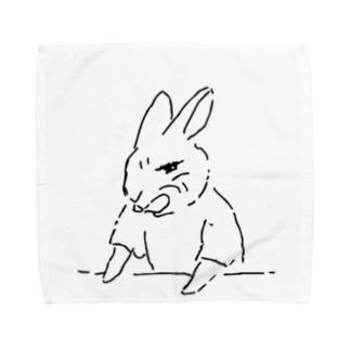うさぎむすこ(黒2) Towel handkerchiefs