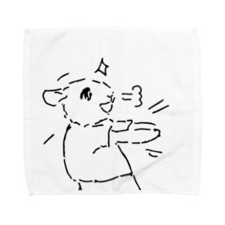 うさぎむすこ(黒4) タオルハンカチ