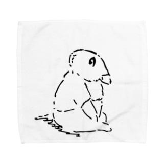 うさぎむすこ(黒5) Towel handkerchiefs