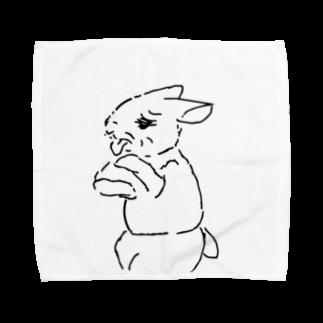 AngelRabbitsのうさぎむすこ(黒8) タオルハンカチ
