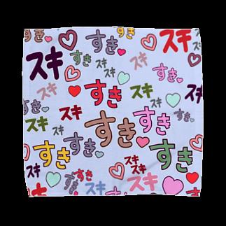 イラストレーター yasijunのすきスキすき(ブルー) Towel handkerchiefs