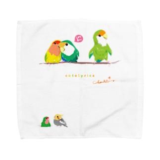 Cotolyrica ラブバード コザクラインコちゃんずA柄 Towel handkerchiefs