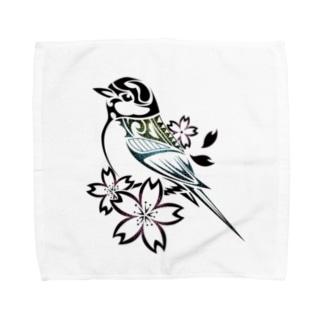 四十雀×桜 Towel handkerchiefs