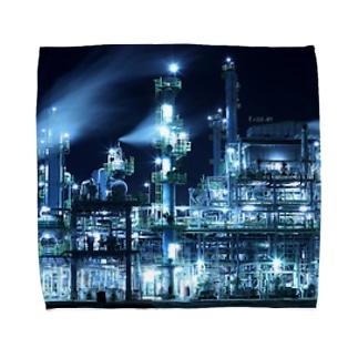 工場moe!(ブルー) Towel handkerchiefs