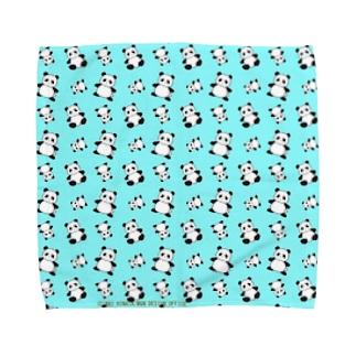 パンダがいっぱい!(ブルー) タオルハンカチ