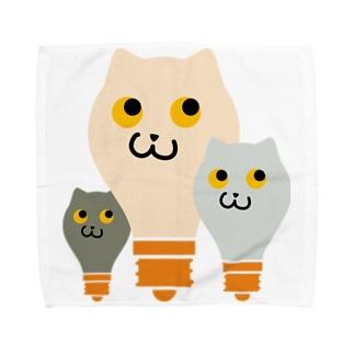 ねこふくろう電球 Towel handkerchiefs