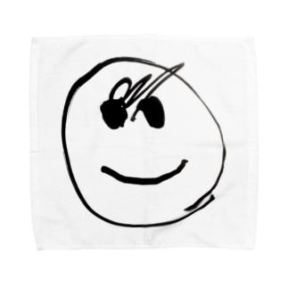 我が子が4回目に描いた顔 Towel handkerchiefs