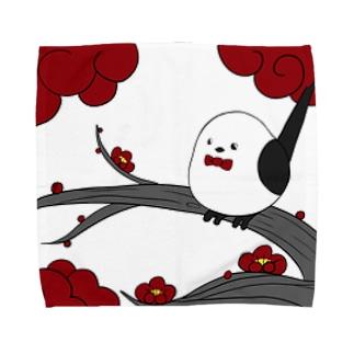花札「梅とナガオくん」白 Towel handkerchiefs
