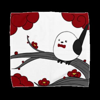 シマエナガの「ナガオくん」公式グッズ販売ページの花札「梅とナガオくん」白 Towel handkerchiefs