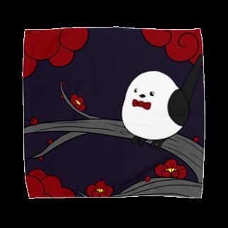 シマエナガの「ナガオくん」公式グッズ販売ページの花札「梅とナガオくん」紫 タオルハンカチ