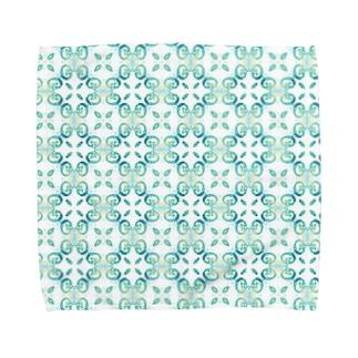 アクアパステル たにがわりさのアクアブルー(タツノオトシゴ) Towel handkerchiefs