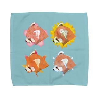 四季とレッサーパンダタオル Towel handkerchiefs