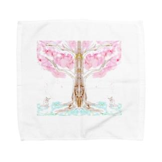 桜の木の下に猫何匹? Towel handkerchiefs
