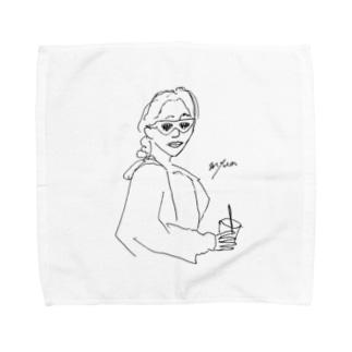 テイクアウトサングラスガール Towel handkerchiefs
