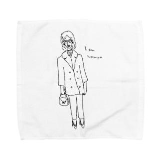 I am woman レトロガール Towel handkerchiefs