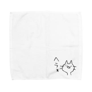 ヘラついたねこ Towel handkerchiefs