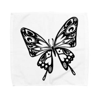 極楽蝶(黒) Towel handkerchiefs