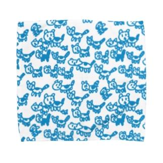 ネコ族 青 Towel handkerchiefs