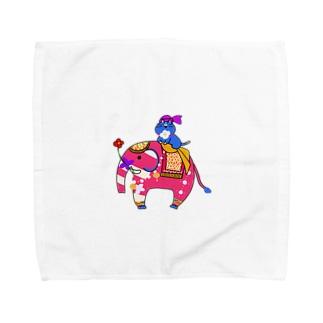 インド象とニャンマー Towel handkerchiefs