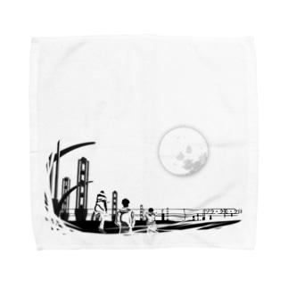 映像作品「ソラ・クモ・クロ」イラスト Towel handkerchiefs