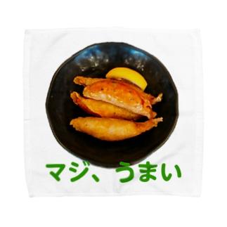 マジ、美味い、鶏皮餃子 タオルハンカチ
