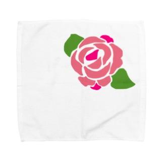 バラ(ピンク) Towel handkerchiefs