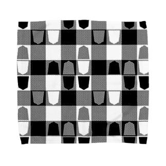 将棋ギンガム(黒) Towel handkerchiefs