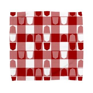 将棋ギンガム(赤) Towel handkerchiefs