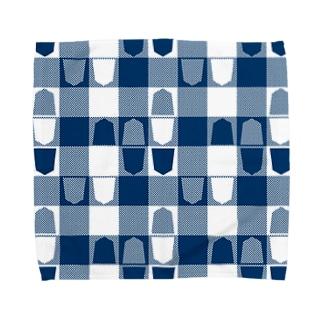 将棋ギンガム(青) Towel handkerchiefs