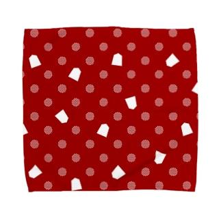 将棋ドット(赤) Towel handkerchiefs