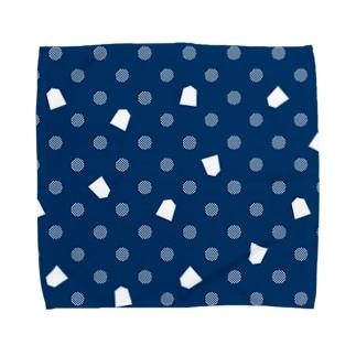 将棋ドット(青) Towel handkerchiefs