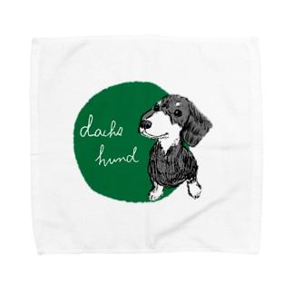ダックスフント green Towel handkerchiefs