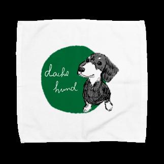 iccaのダックスフント green Towel handkerchiefs