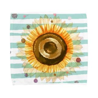 太陽みたいなひまわり Towel handkerchiefs